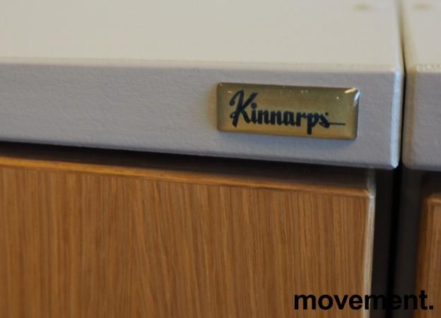 Kinnarps E-serie skap, dører i eik finer, skrog i lys grå, 3 permhøyder, bredde 80cm, høyde 125cm, pent brukt bilde 4