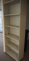 Høy bokhylle E-serie i lys grå fra Kinnarps, 5permhøyder / 5H, 203cm høyde, pent brukt