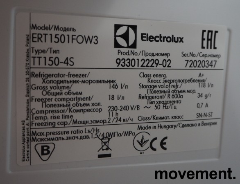 Lite kjøleskap fra Electrolux, ERT1501FOW3, 55cm bredde, 85cm høyde, pent brukt bilde 2