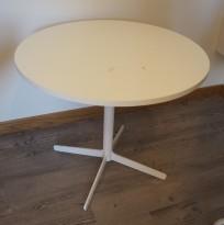Loungebord / sofabord i hvitt fra Edsbyn, modell Feather, Ø=62cm, høyde 54cm, pent brukt