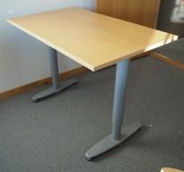 Sidebord til skrivebord 100x60cm i Kinnarps  T-serie, bøk plate, grå ben, pent brukt