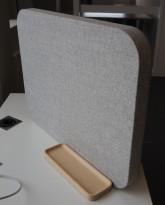 Lintex Mood Fabric Table bordskillevegg / bordskjerm i grått stoff / glasstavle i grått, penneholder, pent brukt