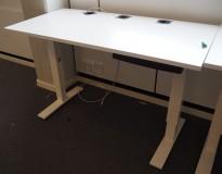 Kompakt skrivebord / avlastningsbord / printerbord fra Kinnarps, 120x60cm i hvitt, pent brukt