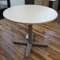 Loungebord i lys grå / grålakkert metall fra Kinnarps, T-serie, Ø=90cm, høyde 73cm, pent brukt