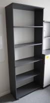 Høy bokhylle E-serie i mørk grå fra Kinnarps, 5permhøyder / 5H, 203cm høyde, pent brukt