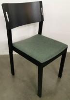 Konferansestol med lyddemping, Skandiform, modell Decibel, sort ramme, grønt sete, pent brukt
