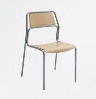 Kinnarps JIG, stablebar stol i bøkefiner / grå stålramme, solid skolestol, pent brukt