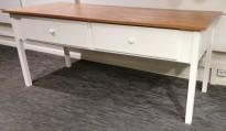 Benk 185x75cm med skuffer under platen, eik laminat bordplate, hvite skuffer / understell, 77cm høyde, pent rbukt