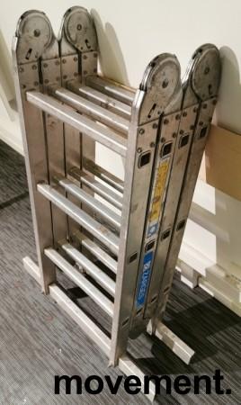 Yrkesstige / sammenleggbar Zarges-stige, ZARGES Z500 / 41183, 4-delt, 3,7meter profftrapp, pent brukt bilde 3