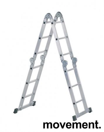 Yrkesstige / sammenleggbar Zarges-stige, ZARGES Z500 / 41183, 4-delt, 3,7meter profftrapp, pent brukt bilde 1
