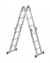 Yrkesstige / sammenleggbar Zarges-stige, ZARGES Z500 / 41183, 4-delt, 3,7meter profftrapp, pent brukt