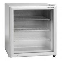 Liten display-fryser med oppvarmet glassdør, Tefcold UF100G-HEA, 61cm bredde, 65,5cm høyde, pent brukt