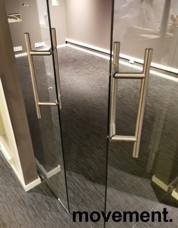 Glassdør / skyvedør i 8mm herdet glass med topphengt skinne i god kvalitet, 103x295cm, pent brukt bilde 6