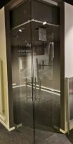 Glassdør / skyvedør i 8mm herdet glass med topphengt skinne i god kvalitet, 103x295cm, pent brukt