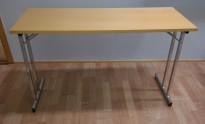 Konferansebord / klappbord i bøk laminat understell i krom, 125x50cm bordplate, pent brukt