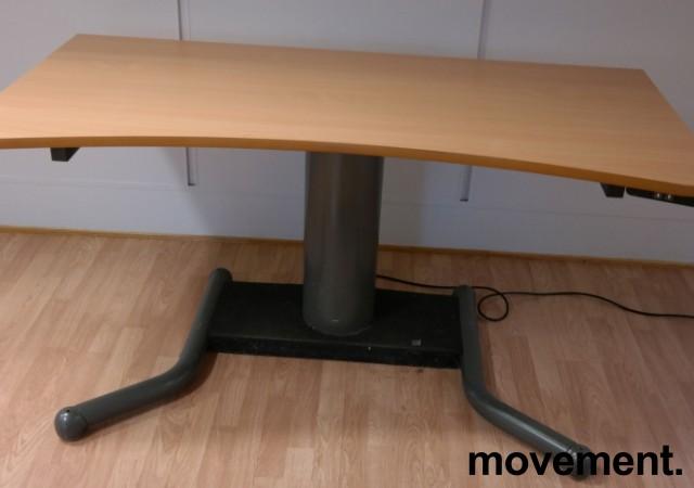 Skrivebord med ettpunkts elektrisk hevsenk i bøk / grått, 160x80cm, brukt bilde 1