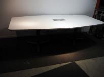 Møtebord i hvitt / grått fra Martela, 240x120cm, 8-10 personer, pent brukt