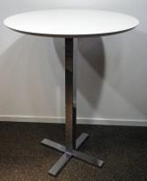 Barbord / ståbord i hvitt / krom fra Ragnars, Ø=80cm, høyde 106cm, pent brukt