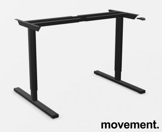 Linak sort understell til skrivebord med elektrisk hevsenk / understell til skrivebord, 120-200cm bredde, NY/UBRUKT