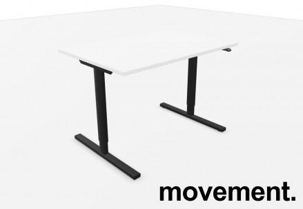 Skrivebord med elektrisk hevsenk i hvitt / sort fra Linak, 120x80cm, NY/UBRUKT