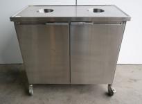Søppeltralle / avfallstralle for storkjøkken / kantine i rustfritt stål, pent brukt