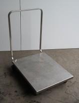 Tralle med bøylehåndtak i rustfritt stål, 60x80cm, høyde håndtak 89cm, pent brukt