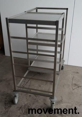 Oppvasktralle i rustfritt stål, 5 hyller for oppvaskbakker, pent brukt bilde 2