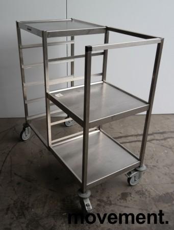 Oppvasktralle i rustfritt stål, 5 hyller for oppvaskbakker, pent brukt bilde 3