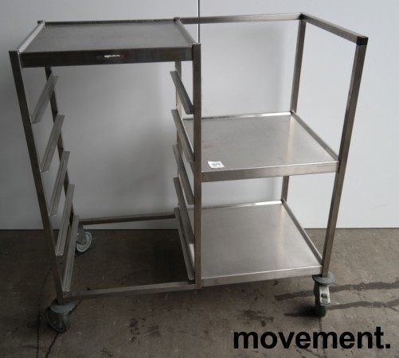 Oppvasktralle i rustfritt stål, 5 hyller for oppvaskbakker, pent brukt bilde 1
