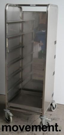 Oppvasktralle i rustfritt stål, for oppvaskbakker, 7 hyller, 162 cm høyde, pent brukt bilde 1
