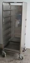 Oppvasktralle i rustfritt stål, for oppvaskbakker, 7 hyller, 162 cm høyde, pent brukt