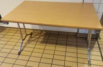 Konferansebord / klappbord i bøk laminat, understell i krom, 120x75cm bordplate, pent brukt