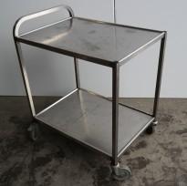 Kantinetralle / trillevogn i rustfritt stål, 55x80cm, 96cm høyde, 2 hyller, brukt