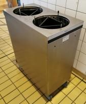 Tallerkentralle fra Elektrotermo for max Ø=24cm tallerkener i rustfritt stål, 2 søyler, pent brukt