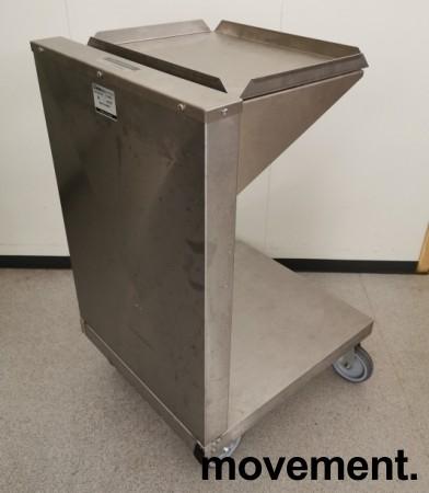 Dispenservogn for kantinebrett i rustfritt stål, komplett med ca 100 brett, pent brukt bilde 4