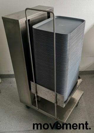 Brettdispenservogn for kantinebrett, med ca 100stk kantinebrett, pent brukt bilde 2