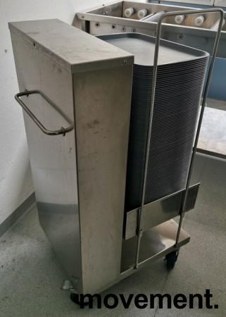 Brettdispenservogn for kantinebrett, med ca 100stk kantinebrett, pent brukt bilde 3