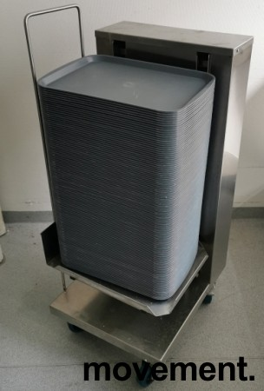 Brettdispenservogn for kantinebrett, med ca 100stk kantinebrett, pent brukt bilde 1