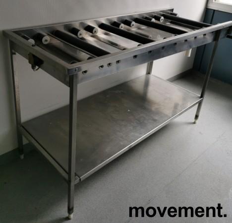 Rullebane / rullebenk i rustfritt stål for oppvask, 170cm bredde, pent brukt bilde 3