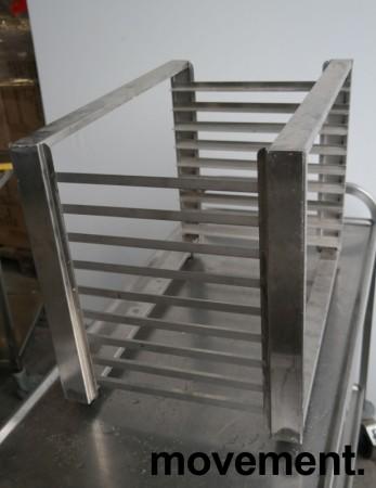 Hylle for stekebrett i rustfritt stål med 9 hyller, 63x40cm, pent brukt bilde 2
