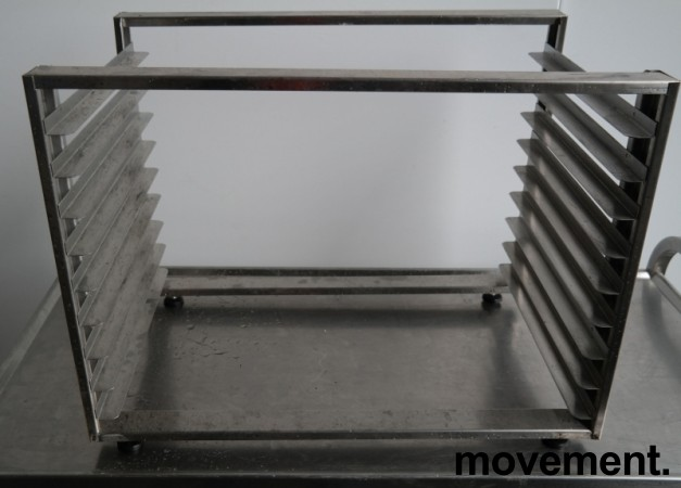Hylle for stekebrett i rustfritt stål med 9 hyller, 63x40cm, pent brukt bilde 1