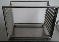 Hylle for stekebrett i rustfritt stål med 9 hyller, 63x40cm, pent brukt