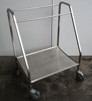Tralle med bøylehåndtak i rustfritt stål, 73x57cm, høyde håndtak 100cm, brukt