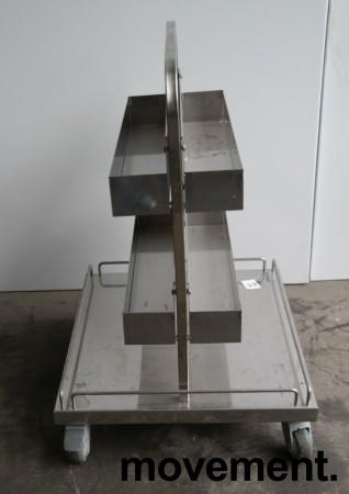 Tralle med stativ / butikkinnredning / butikktralle i rustfritt stål, 60x55cm, høyde 80cm, pent brukt bilde 2