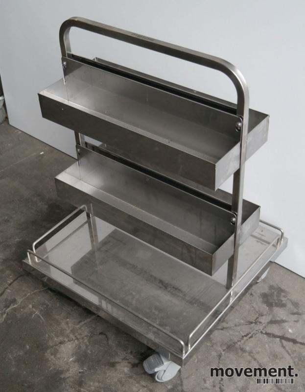 Tralle med stativ / butikkinnredning / butikktralle i rustfritt stål, 60x55cm, høyde 80cm, pent brukt bilde 1