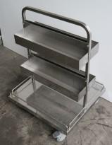 Tralle med stativ / butikkinnredning / butikktralle i rustfritt stål, 60x55cm, høyde 80cm, pent brukt