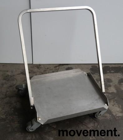 Tralle med bøylehåndtak i rustfritt stål, 51x45cm, høyde håndtak 68cm, brukt bilde 2