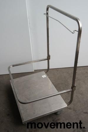 Tralle med bøylehåndtak i rustfritt stål, justerbart stativ for skittentøysekk e.l., 70x60cm, høyde håndtak 104cm, pent brukt bilde 4