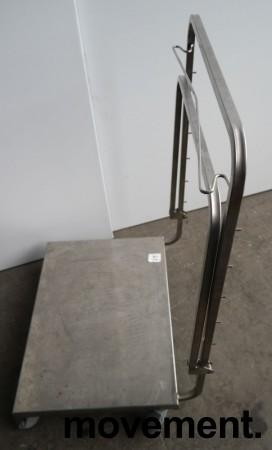 Tralle med bøylehåndtak i rustfritt stål, justerbart stativ for skittentøysekk e.l., 70x60cm, høyde håndtak 104cm, pent brukt bilde 5