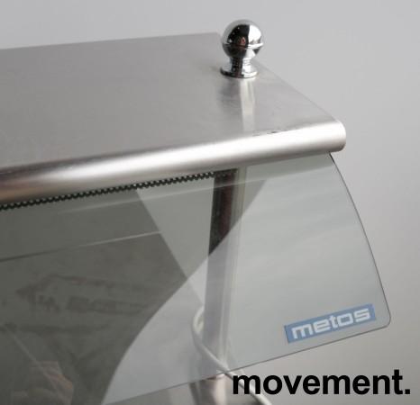 Serveringsmodul / buffet på hjul i lys beige / rustfritt stål fra Metos, 80cm bredde, med brettbane for kantinebrett, pent brukt bilde 3